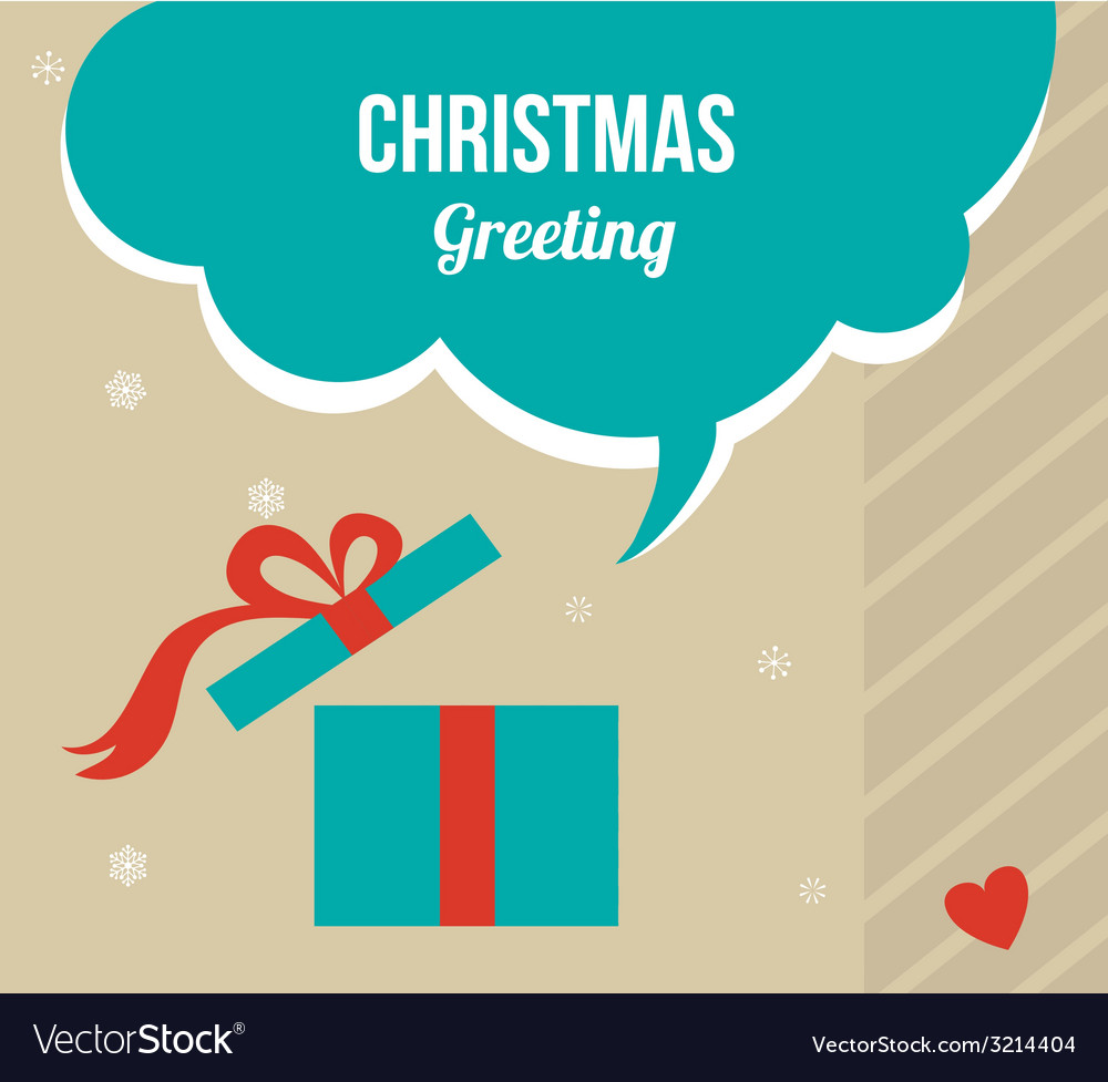 Christmas greeting card with retro colored present vector | Price: 1 Credit (USD $1)
