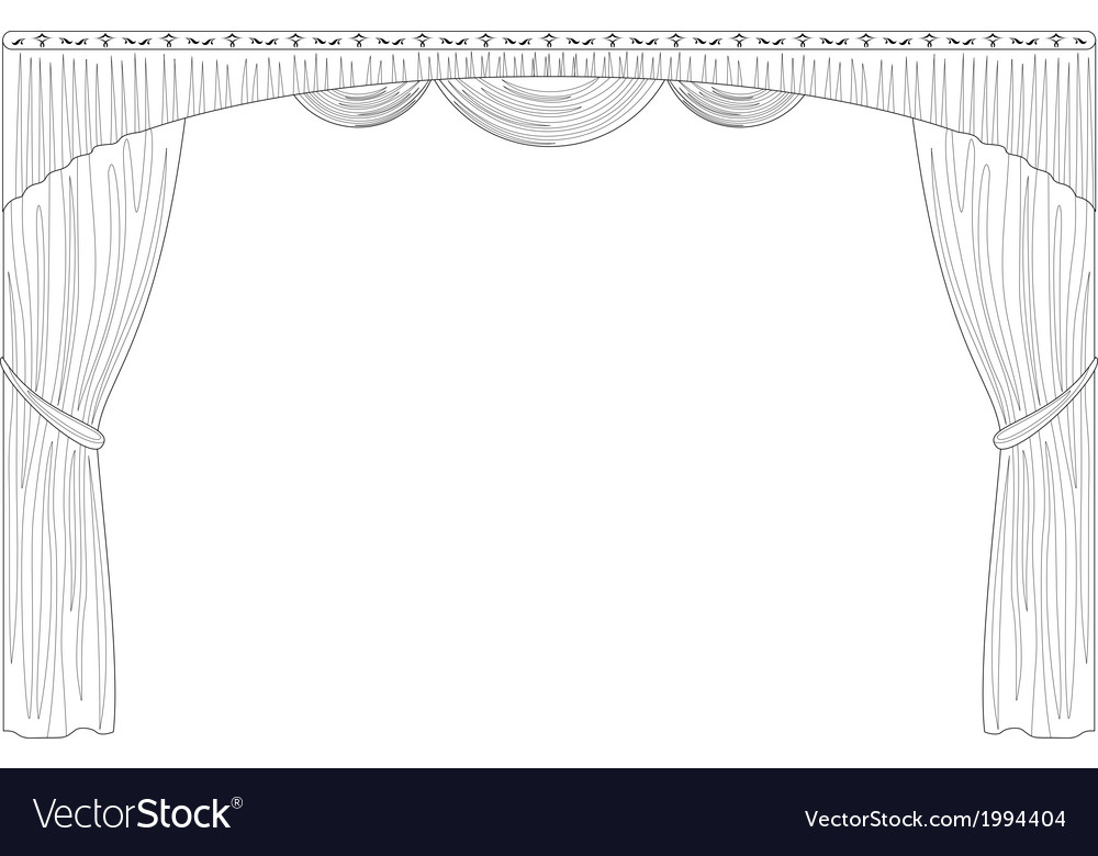 Curtain isolated contour vector | Price: 1 Credit (USD $1)