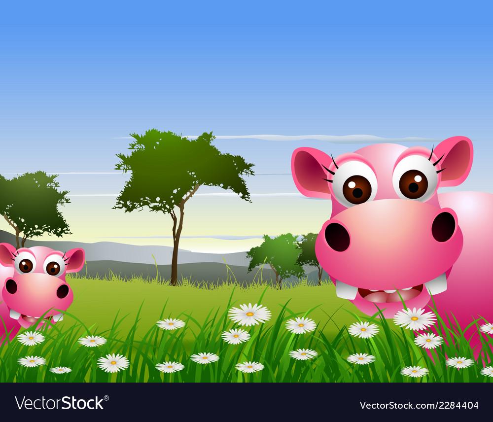 Cute couple hippo cartoon with landscape backgroun vector | Price: 3 Credit (USD $3)