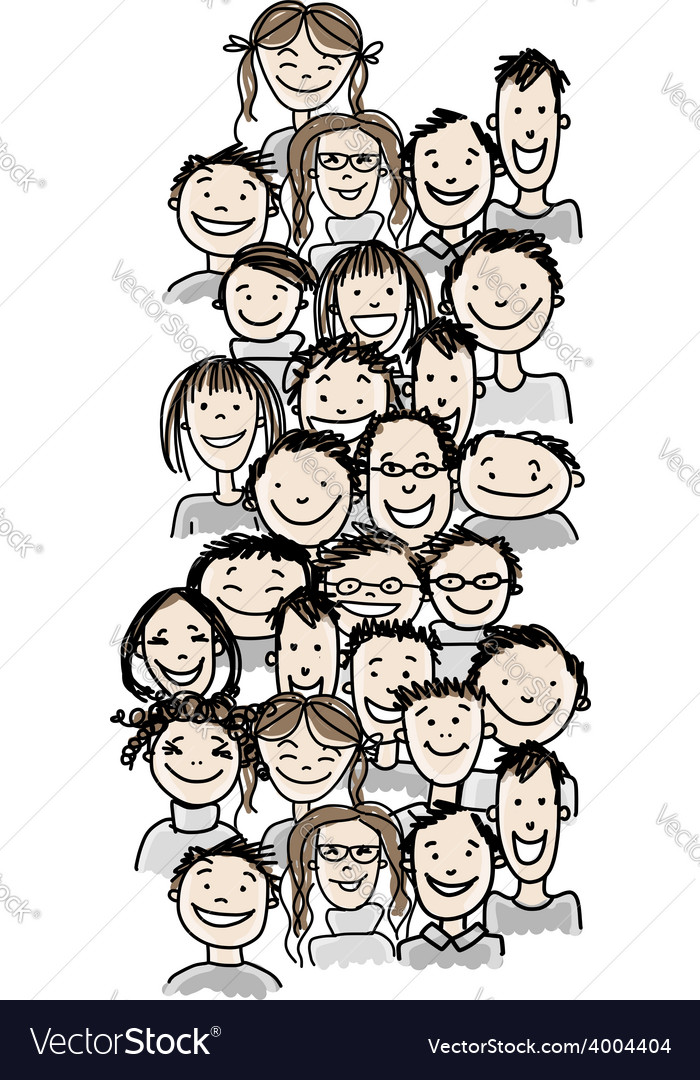 Group of people sketch for your design vector | Price: 1 Credit (USD $1)
