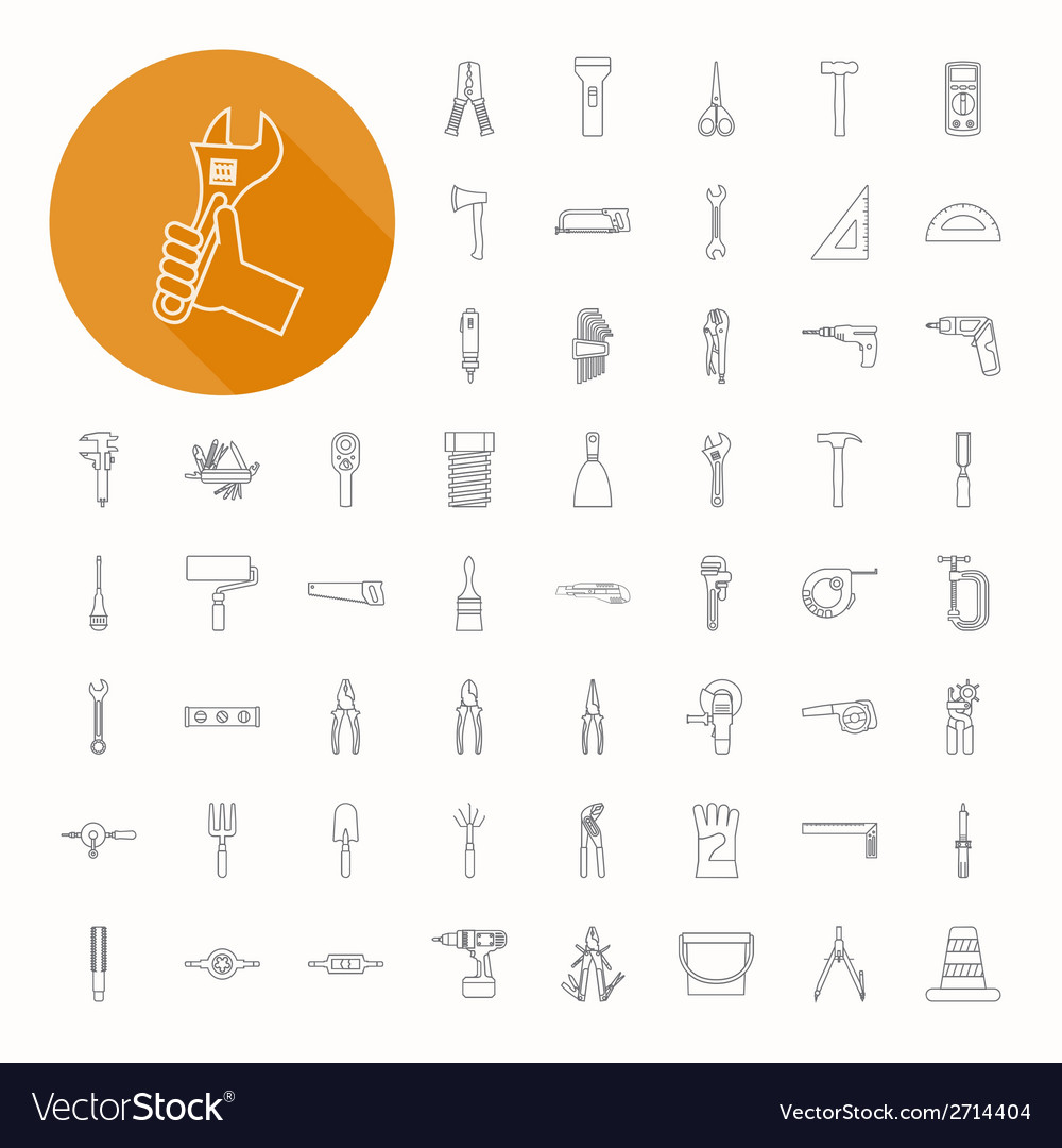 Hand tools icons thin icon design vector | Price: 1 Credit (USD $1)