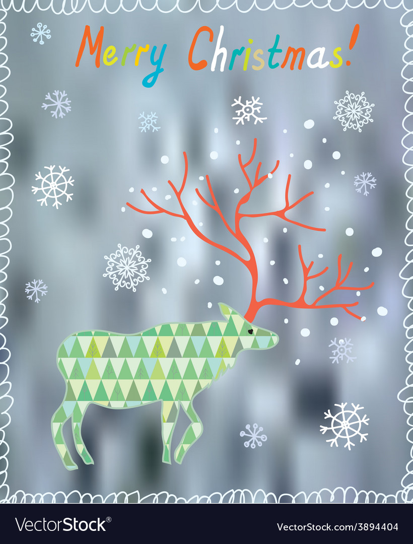 Merry christmas card with ornate deer and snow vector | Price: 1 Credit (USD $1)