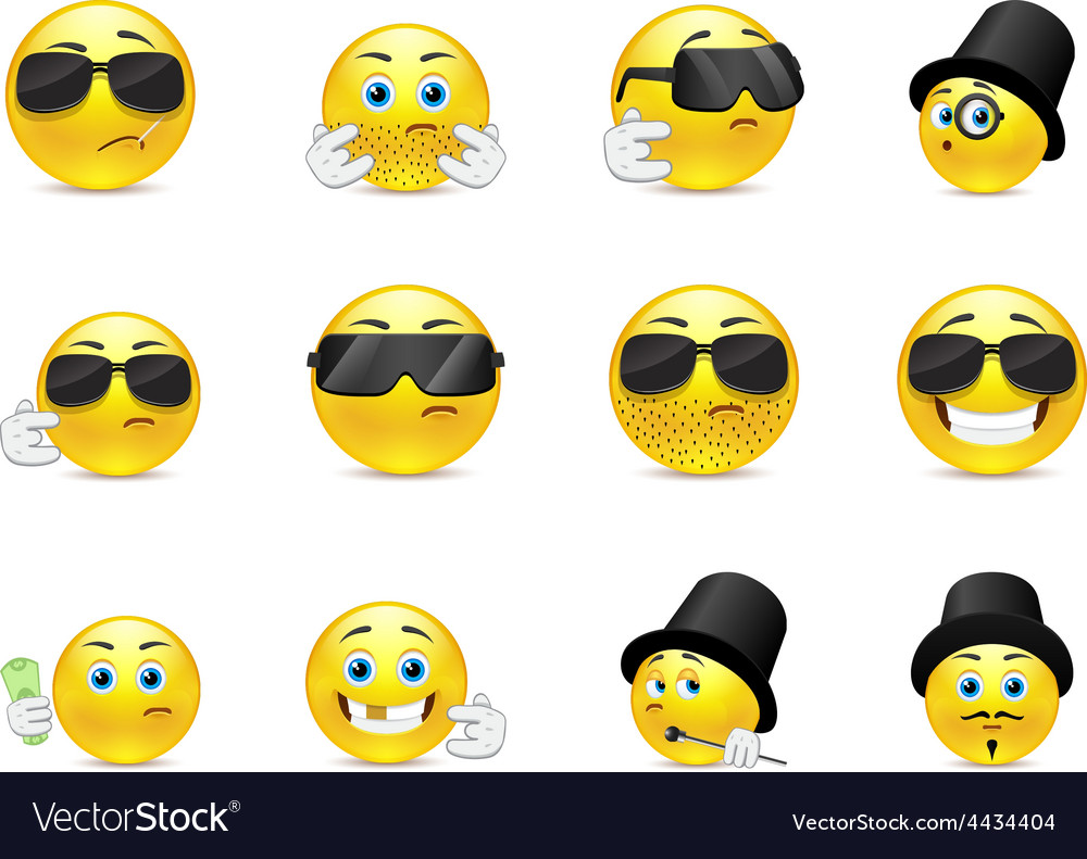 Serious smilies vector | Price: 1 Credit (USD $1)