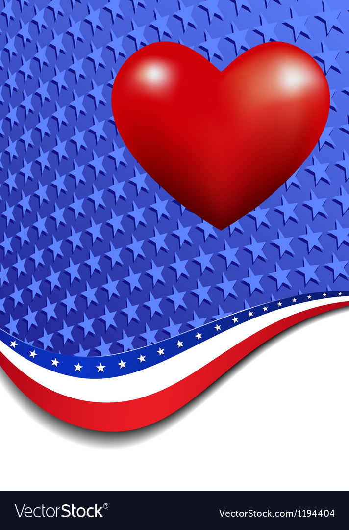 Stars and stripes portrait heart vector | Price: 1 Credit (USD $1)