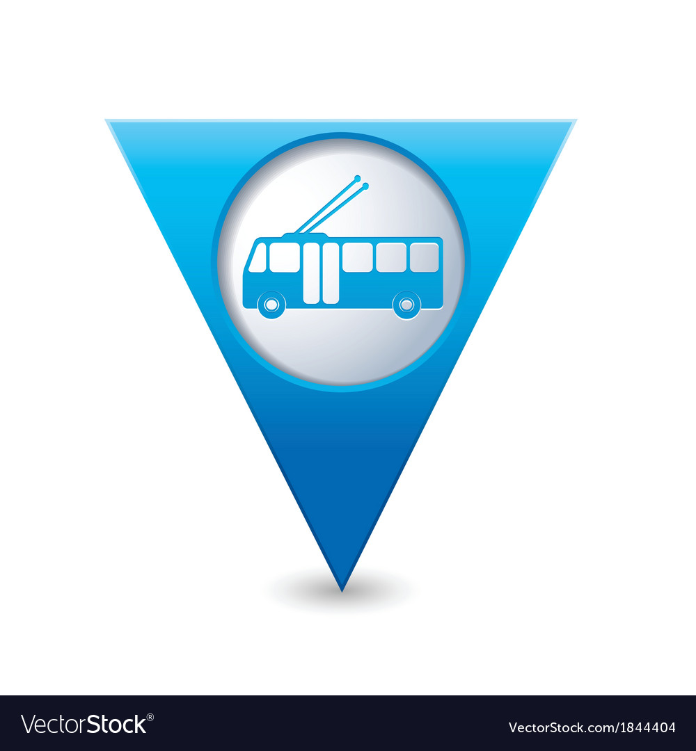 Trolleybus icon map pointer blue vector | Price: 1 Credit (USD $1)