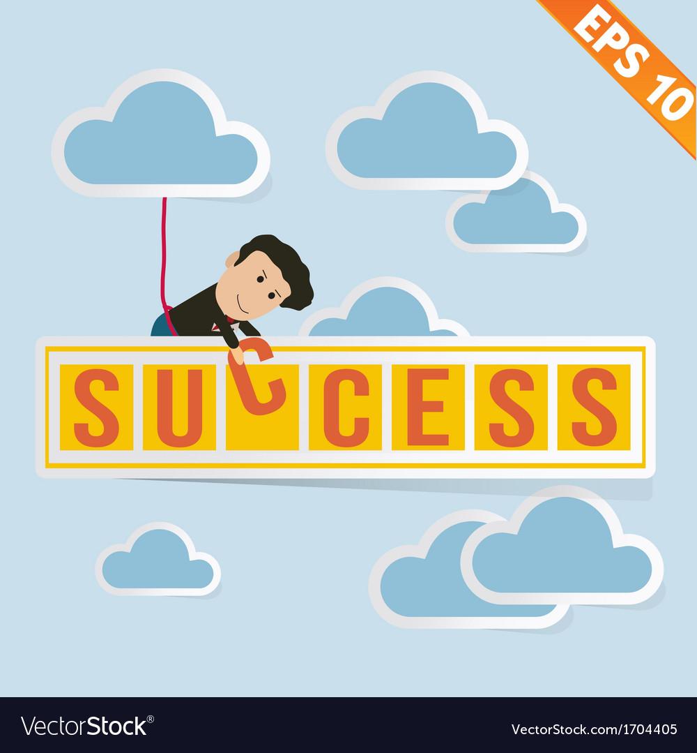 Cartoon businessman with success billboard - vector   Price: 1 Credit (USD $1)