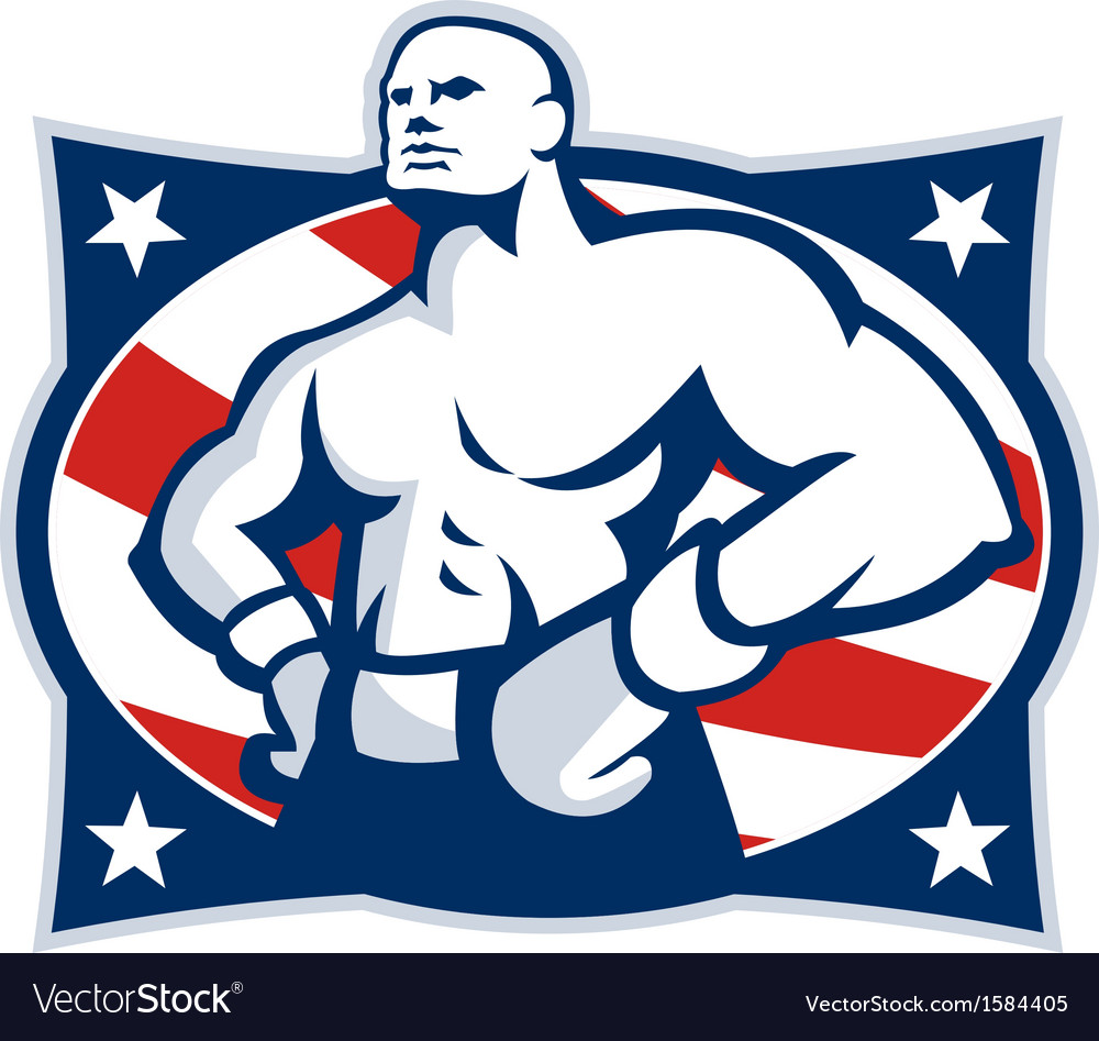 Champion american boxer akimbo retro vector | Price: 1 Credit (USD $1)