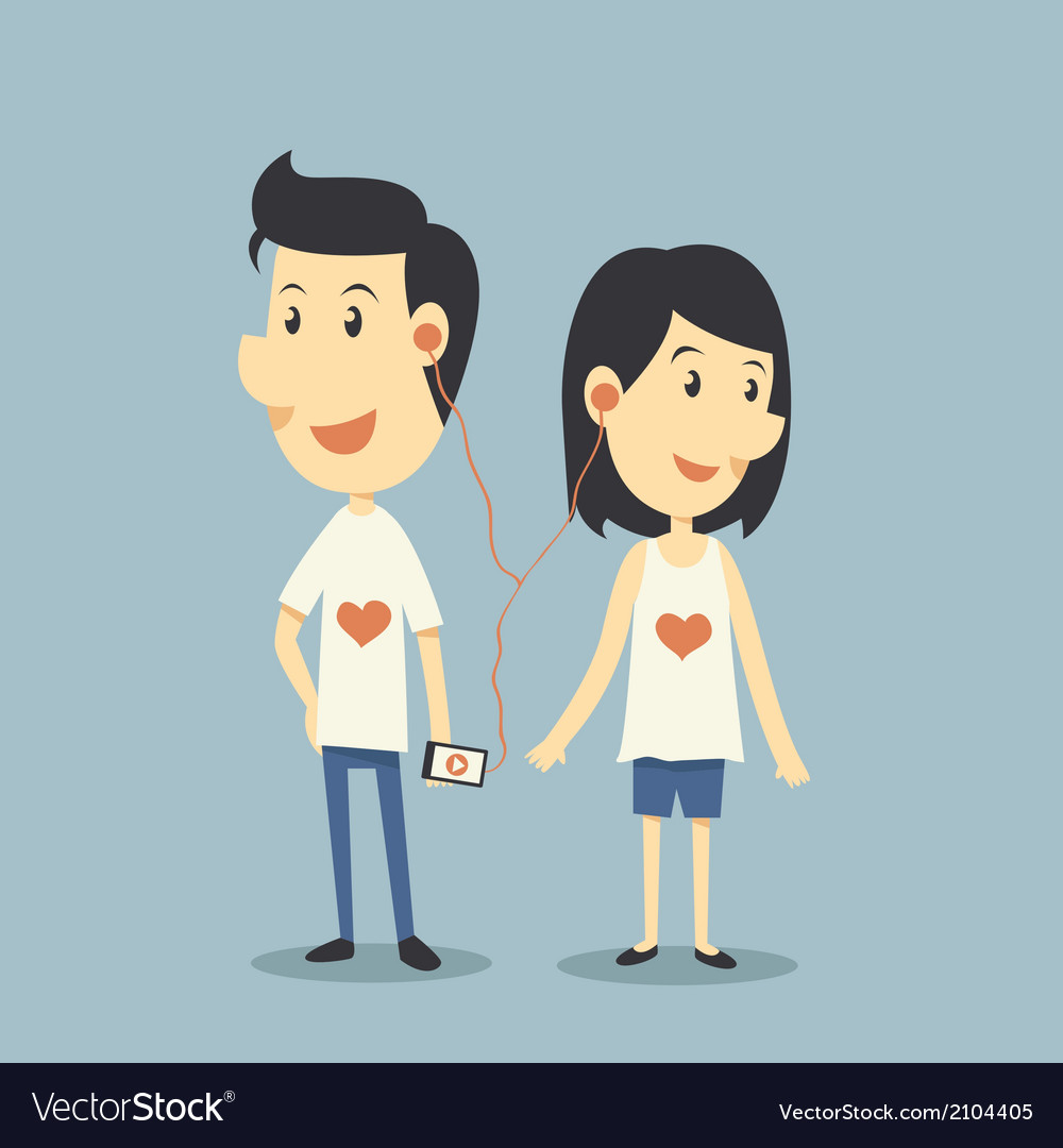 Happy couple in love with playing song vector | Price: 1 Credit (USD $1)