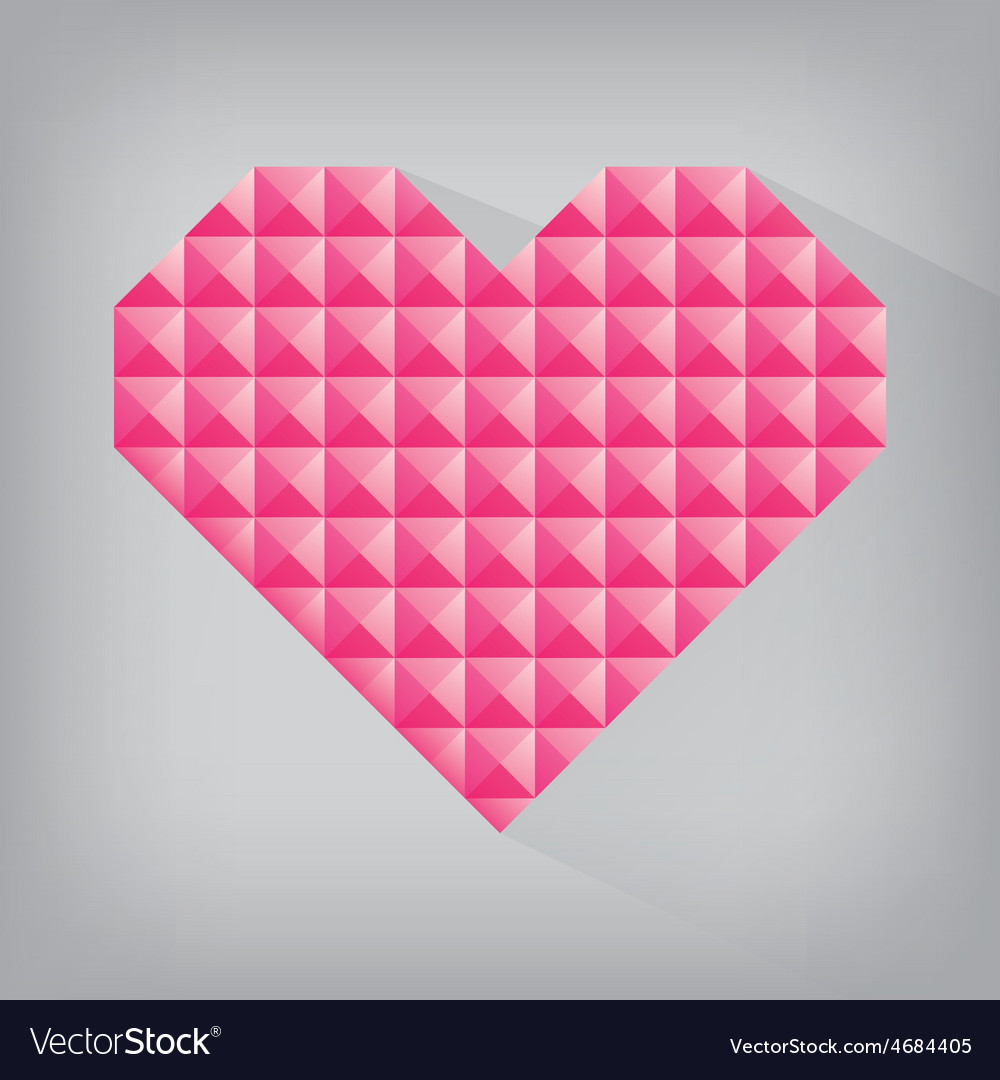 Pink retro heart triangle abstract love valentine vector | Price: 1 Credit (USD $1)