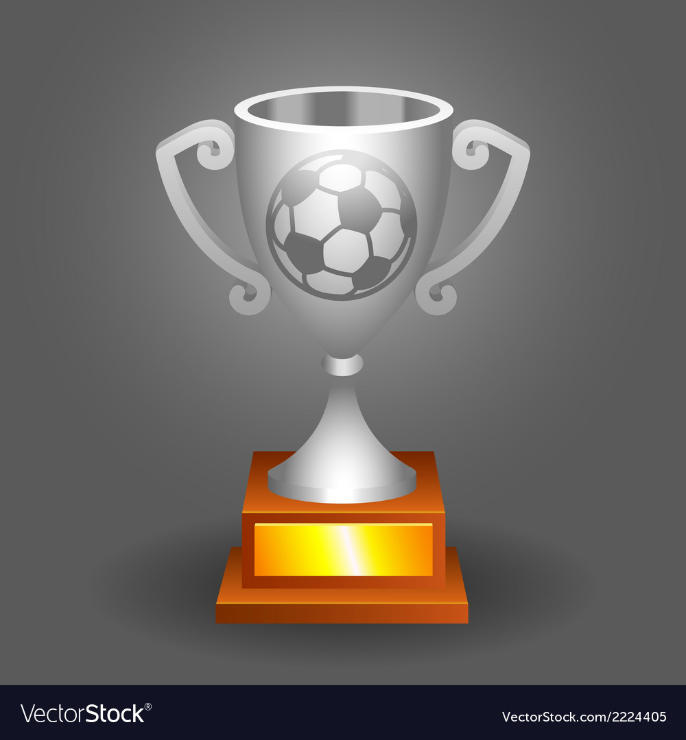 Soccer ball trophy silver cup bacground vector | Price: 1 Credit (USD $1)