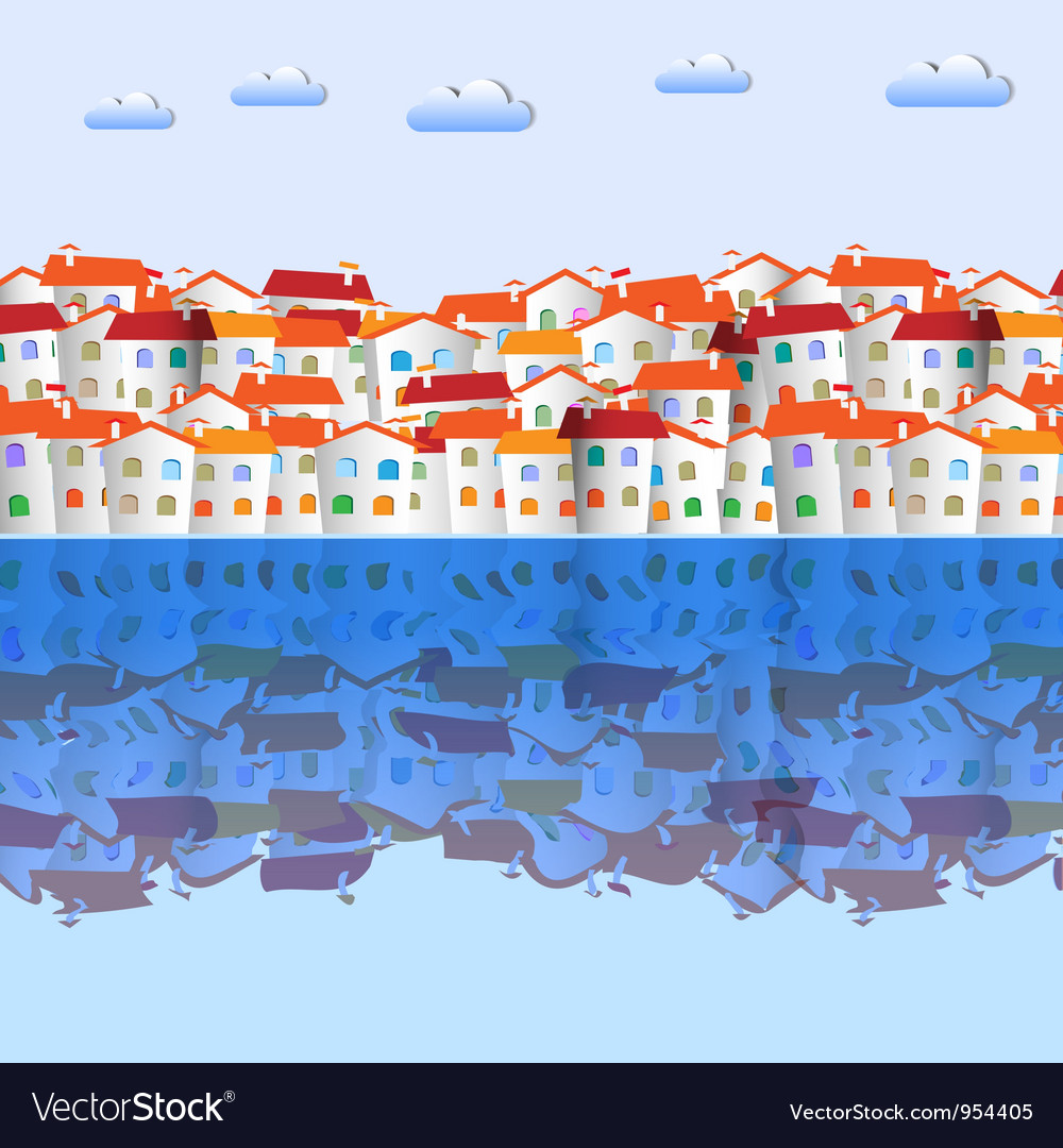 Town and reflection vector | Price: 1 Credit (USD $1)