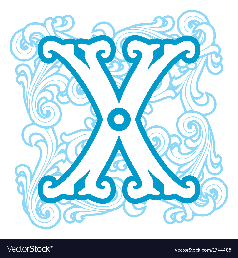 Winter vintage letter x vector | Price: 1 Credit (USD $1)