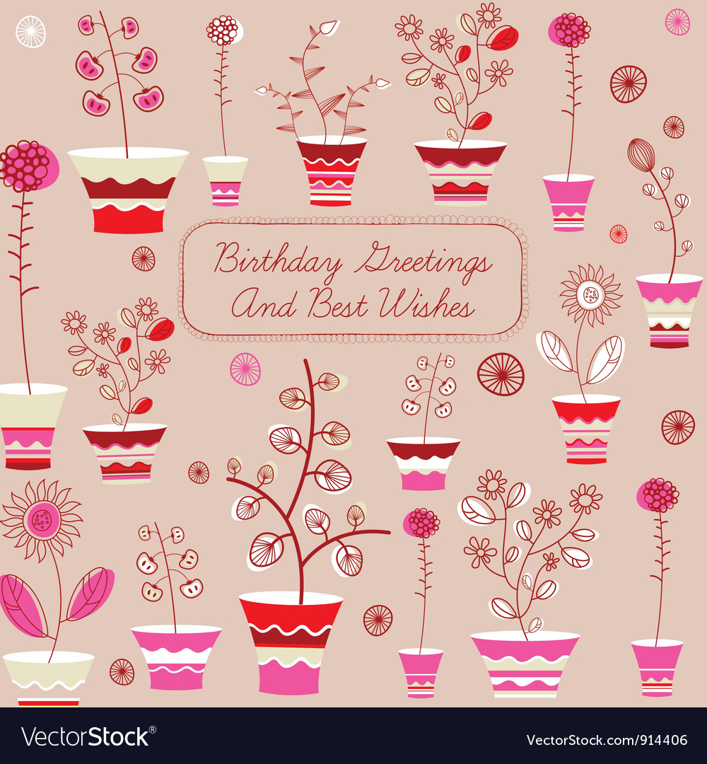 Birthday card with flowers vector | Price: 1 Credit (USD $1)