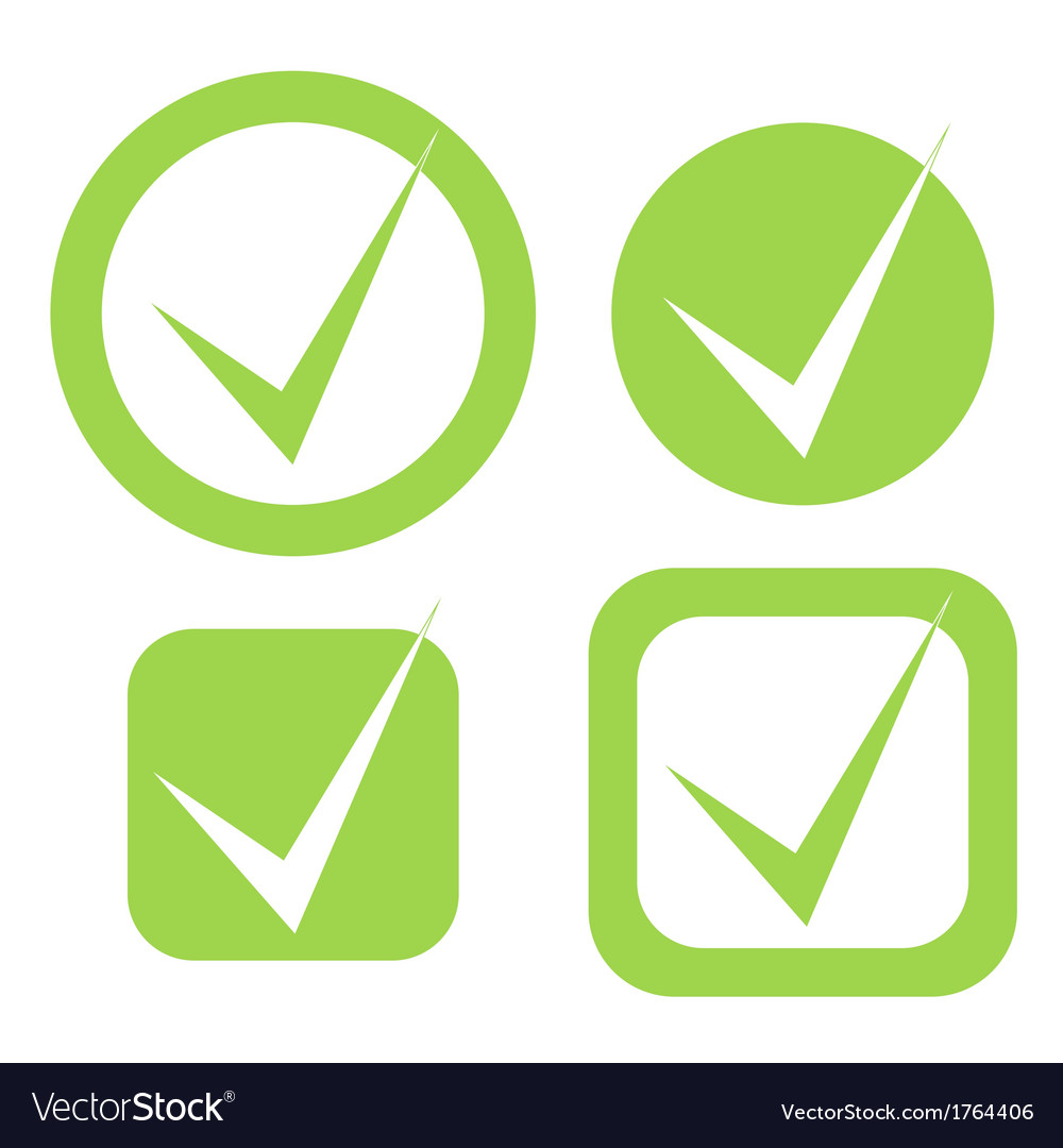 Check mark stickers in eco green color vector