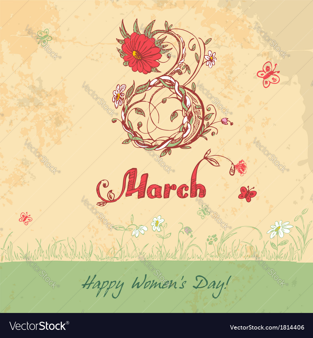 March 8 vintage card vector | Price: 1 Credit (USD $1)