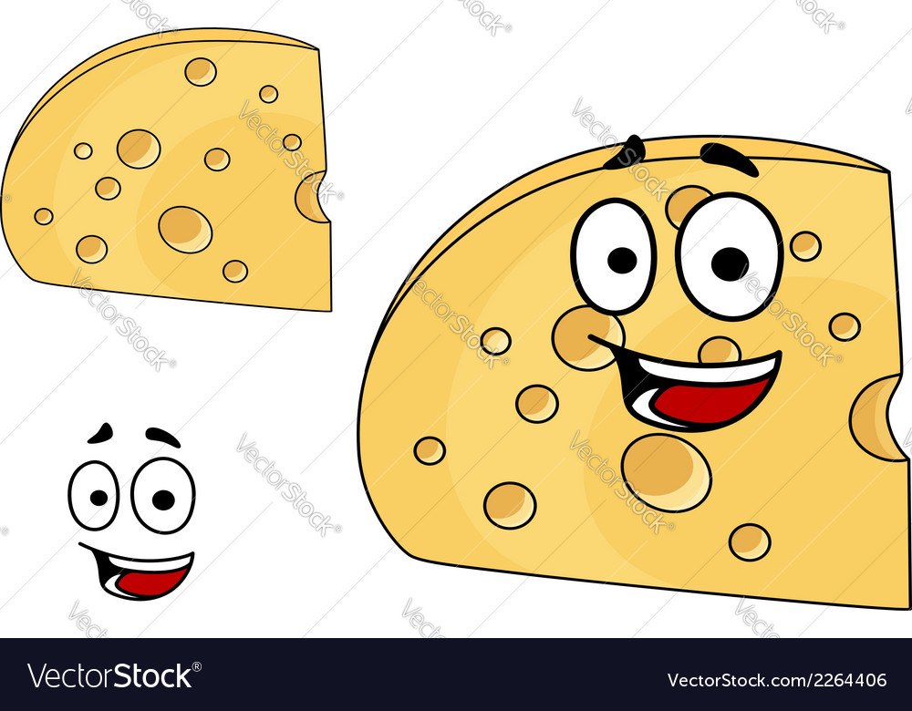 Piece of cheese with holes and a smiling face vector | Price: 1 Credit (USD $1)