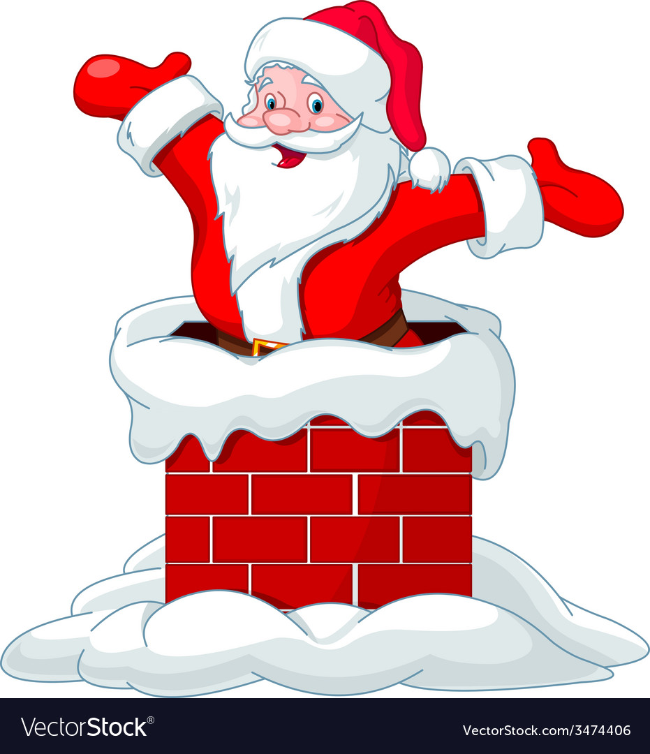 Santa claus jumping from chimney vector | Price: 1 Credit (USD $1)