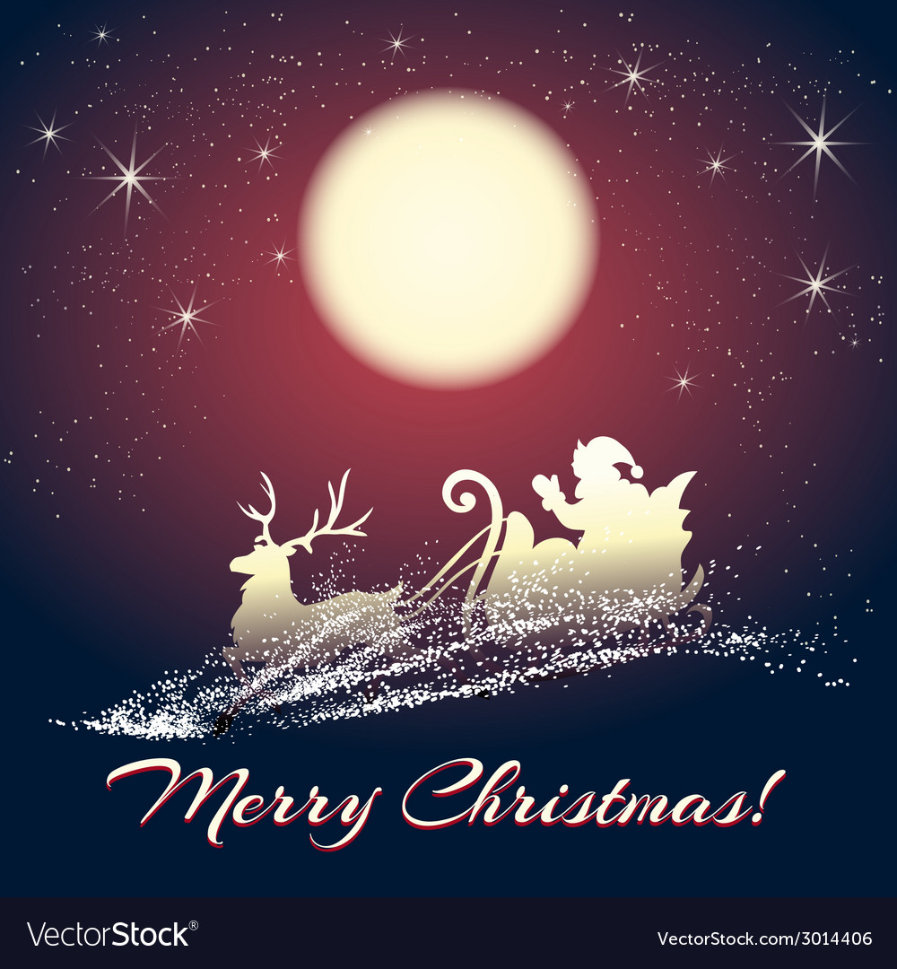 Santa claus on sleigh with reindeer vector | Price: 1 Credit (USD $1)