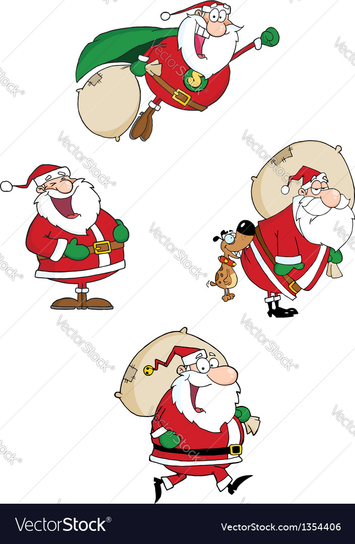 Santa claus waving a greeting collection vector | Price: 3 Credit (USD $3)