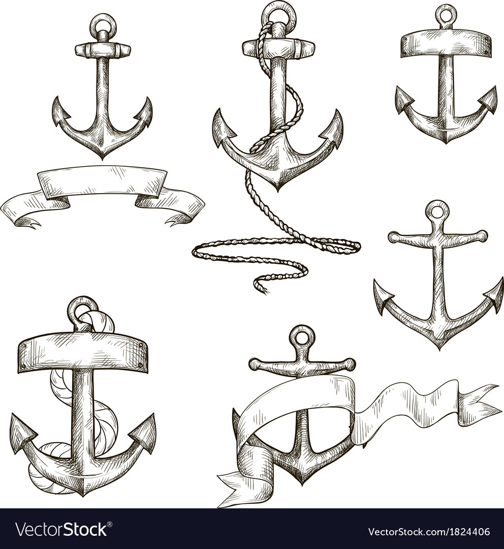 Set of hand drawn anchors and ribbons vector | Price: 1 Credit (USD $1)