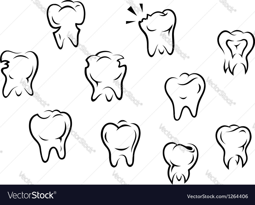 Set of health and illness teeth vector | Price: 1 Credit (USD $1)