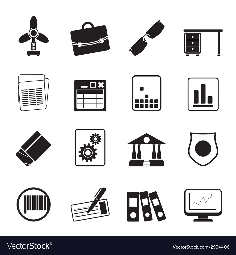 Silhouette business and office icons vector | Price: 1 Credit (USD $1)
