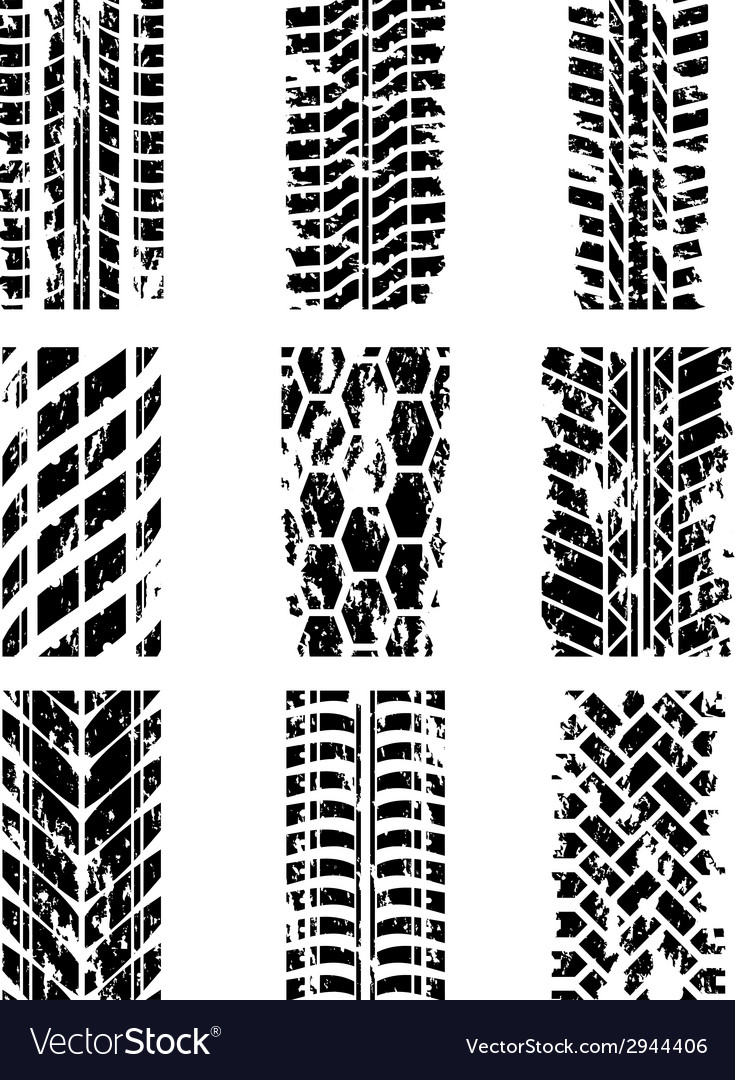 Tire tracks set vector | Price: 1 Credit (USD $1)