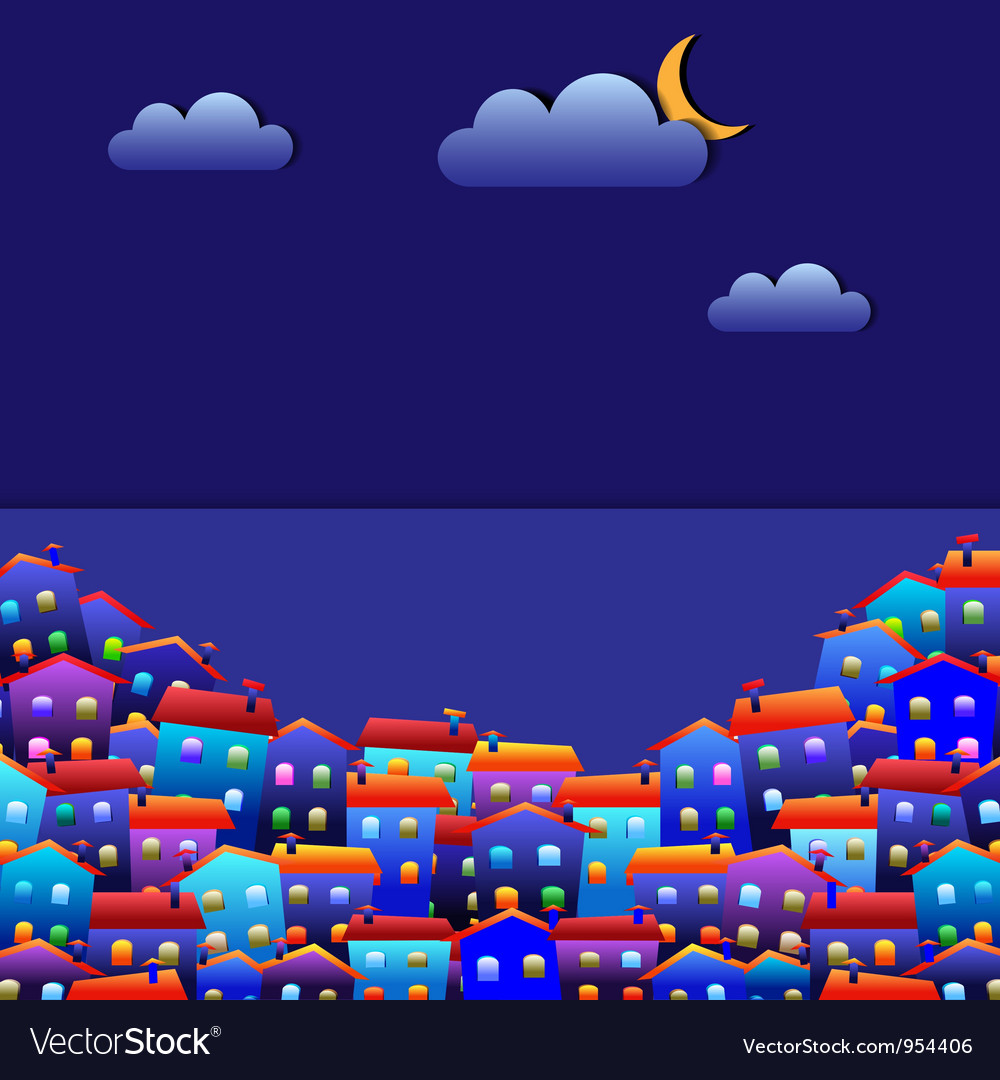 Town at night vector | Price: 1 Credit (USD $1)