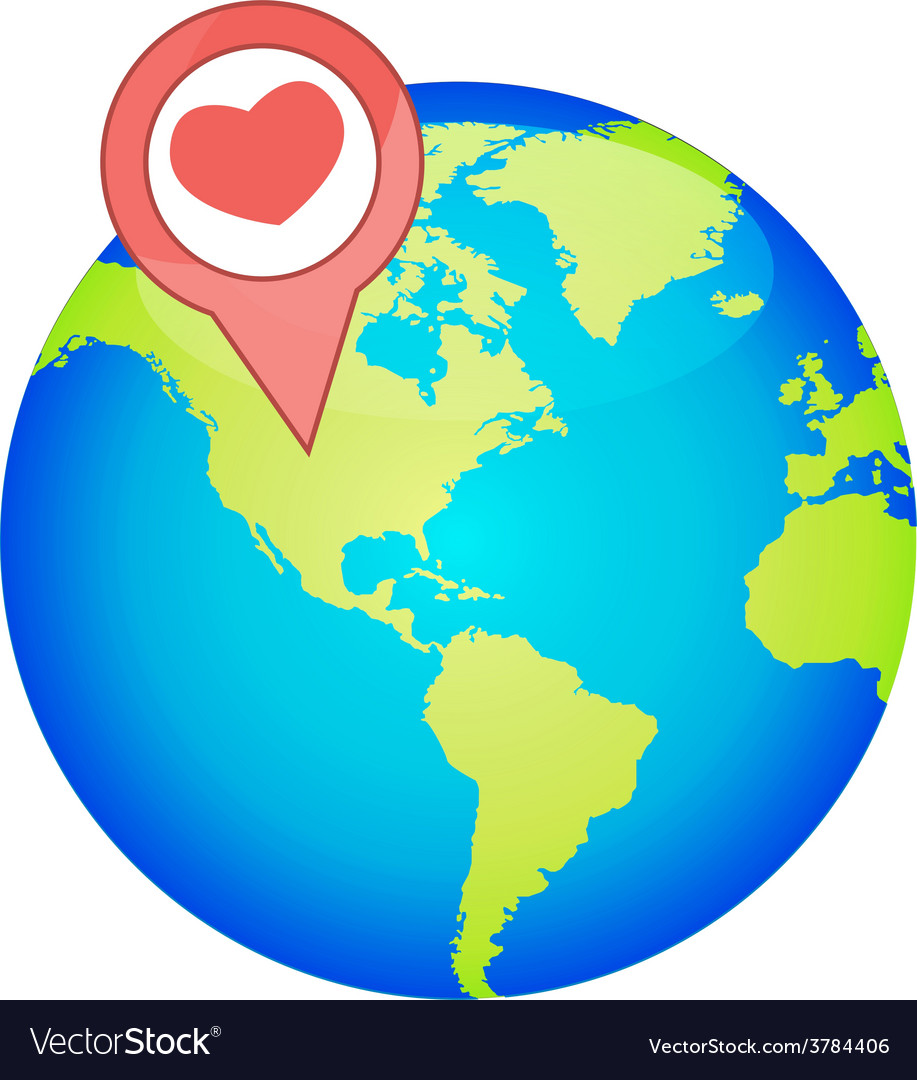 Valentines day romantic heart with world map vector   Price: 1 Credit (USD $1)