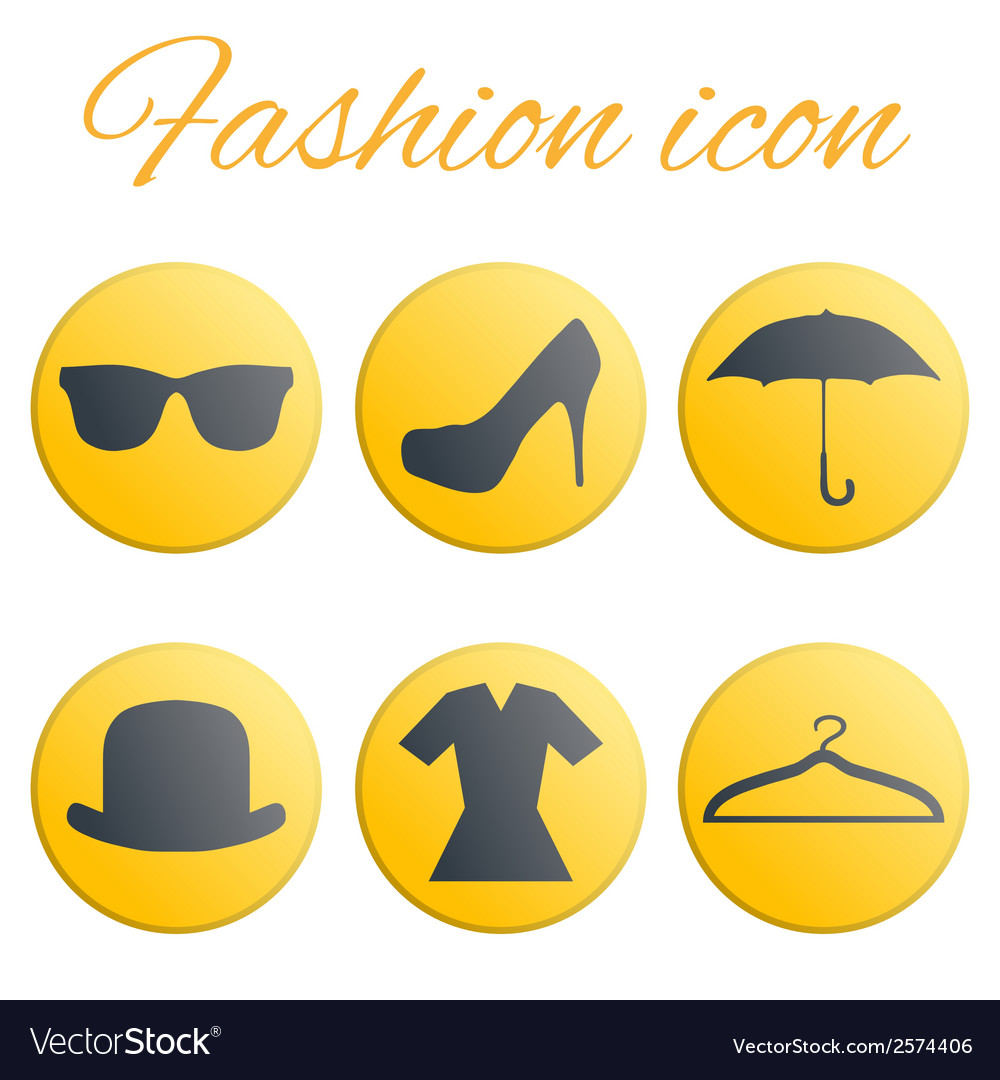 Yellow fashion realistic button set vector | Price: 1 Credit (USD $1)