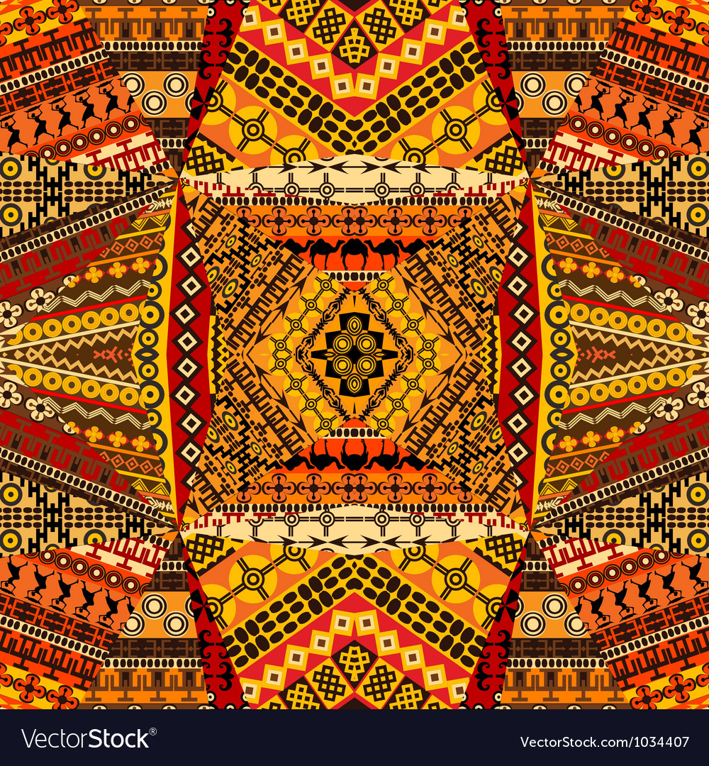 African motifs collage made of textile patchworks vector | Price: 1 Credit (USD $1)