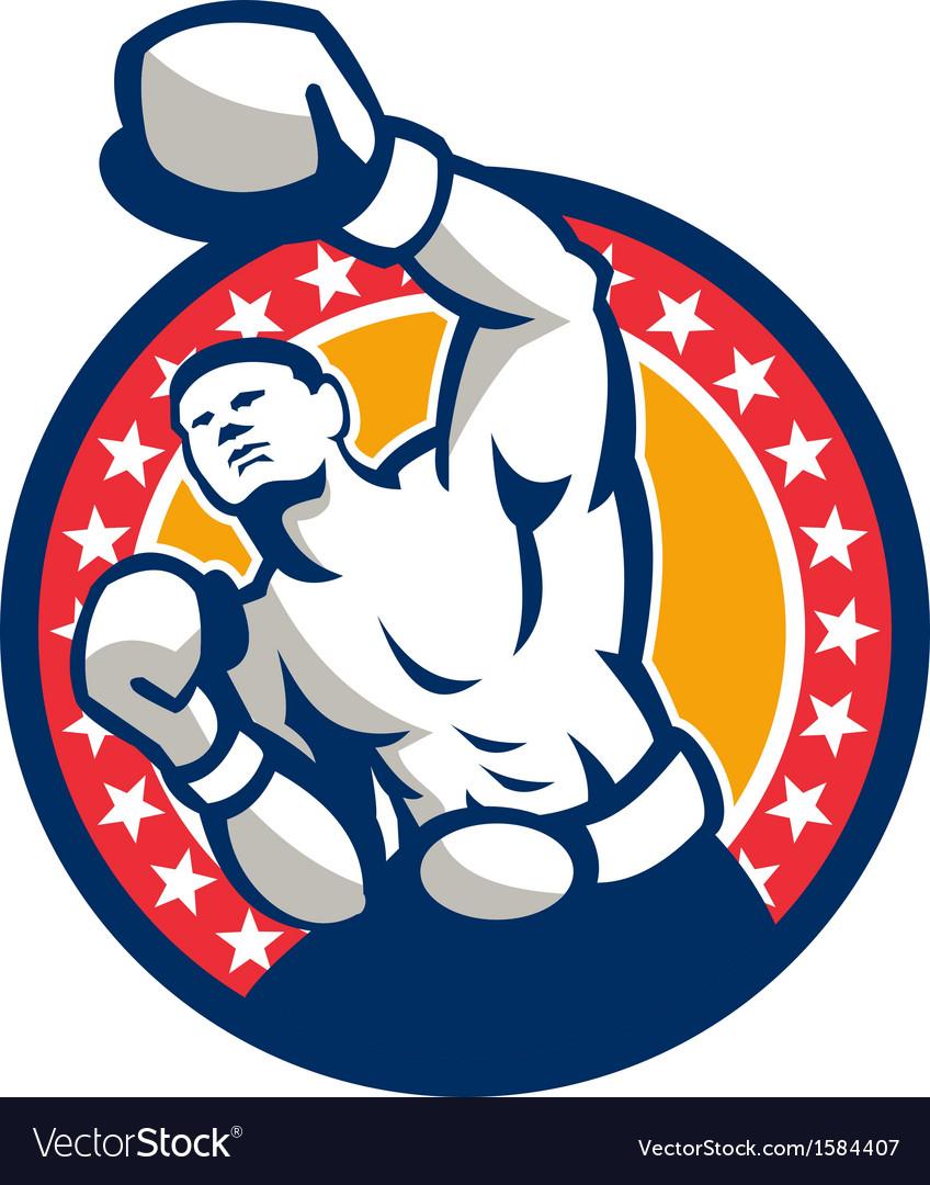 Boxer boxing punching jabbing retro vector | Price: 1 Credit (USD $1)