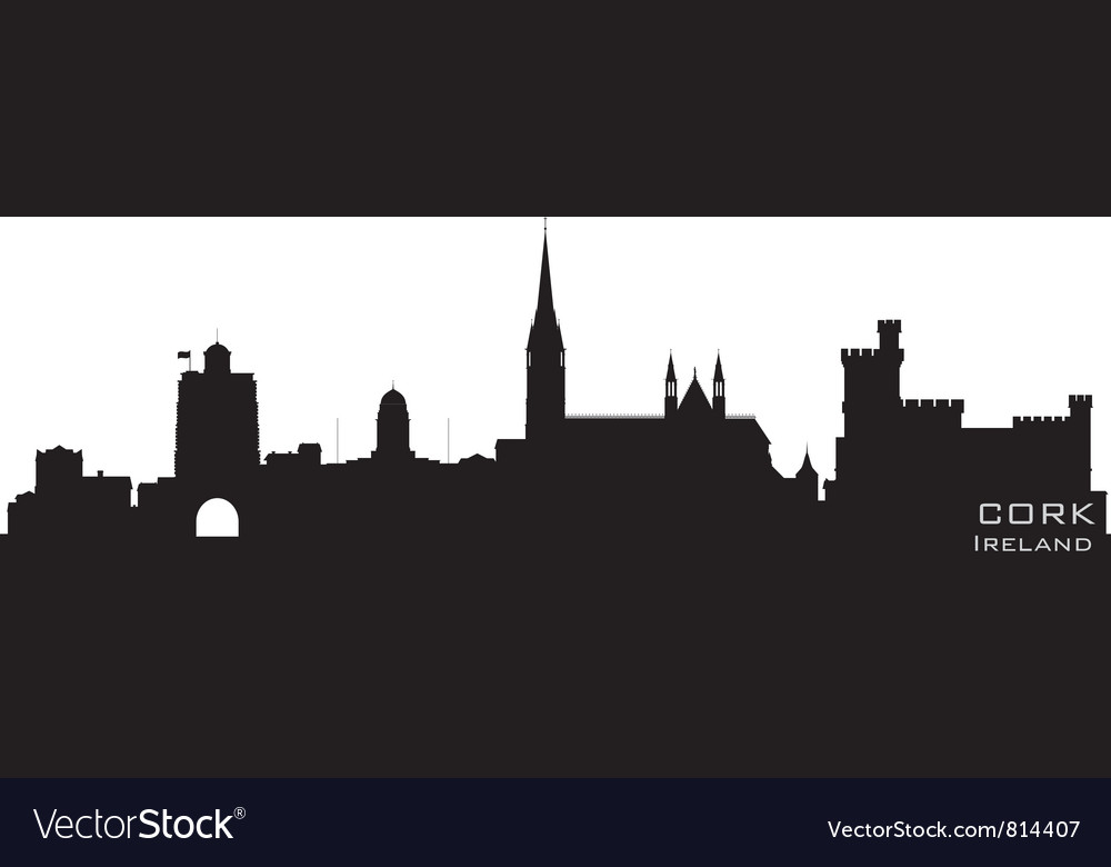 Cork ireland skyline detailed silhouette vector | Price: 1 Credit (USD $1)