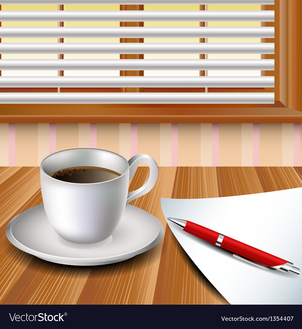Cup of coffee on a wood table vector   Price: 1 Credit (USD $1)