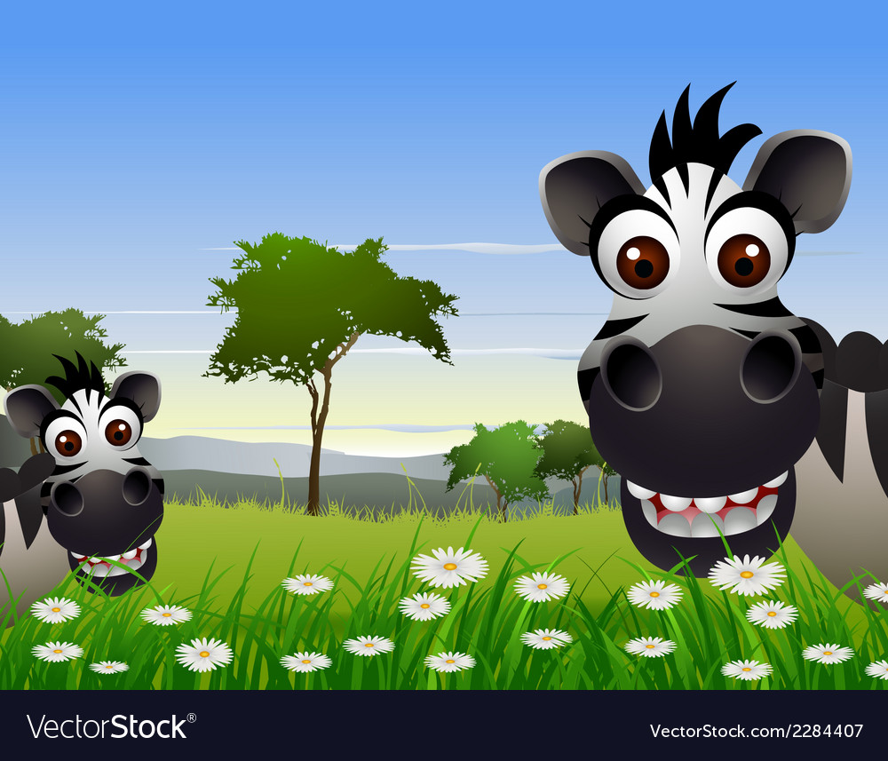 Cute zebra cartoon with nature background vector | Price: 3 Credit (USD $3)
