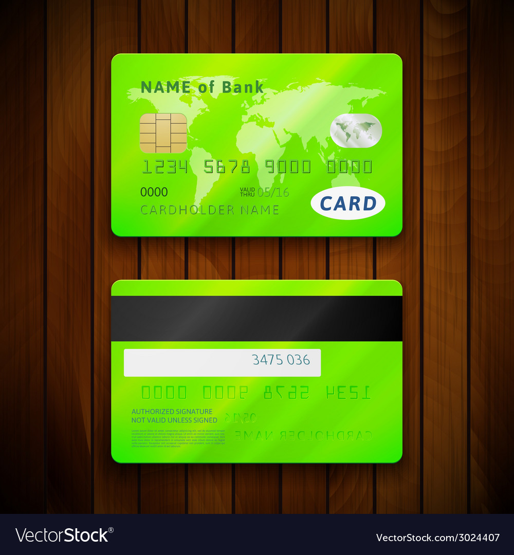 Detailed glossy green credit cards with two sides vector | Price: 1 Credit (USD $1)