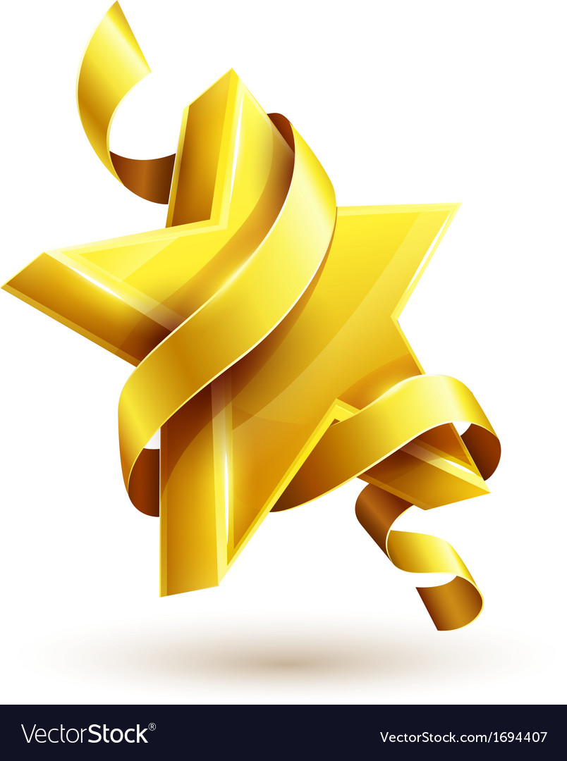 Gold star with ribbon vector | Price: 1 Credit (USD $1)