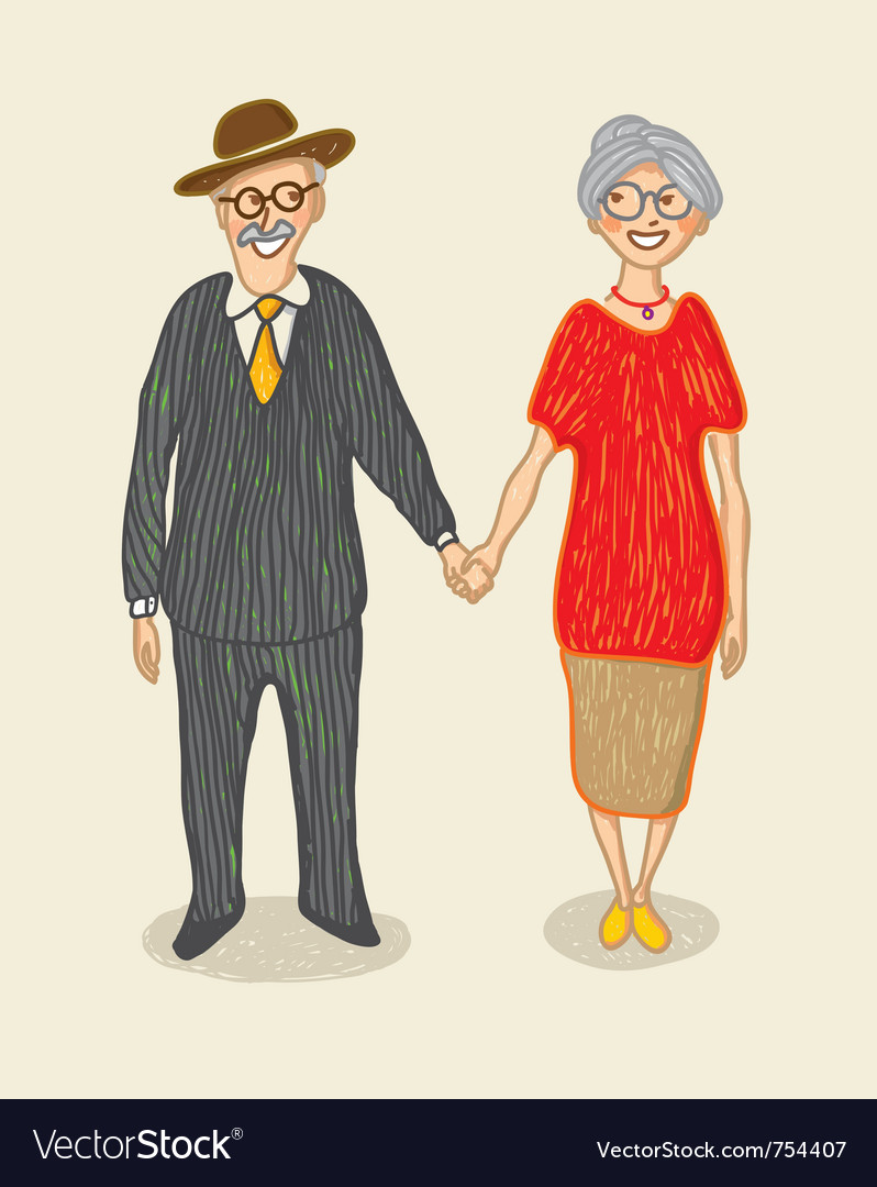 Grandmother and grandfather vector | Price: 1 Credit (USD $1)