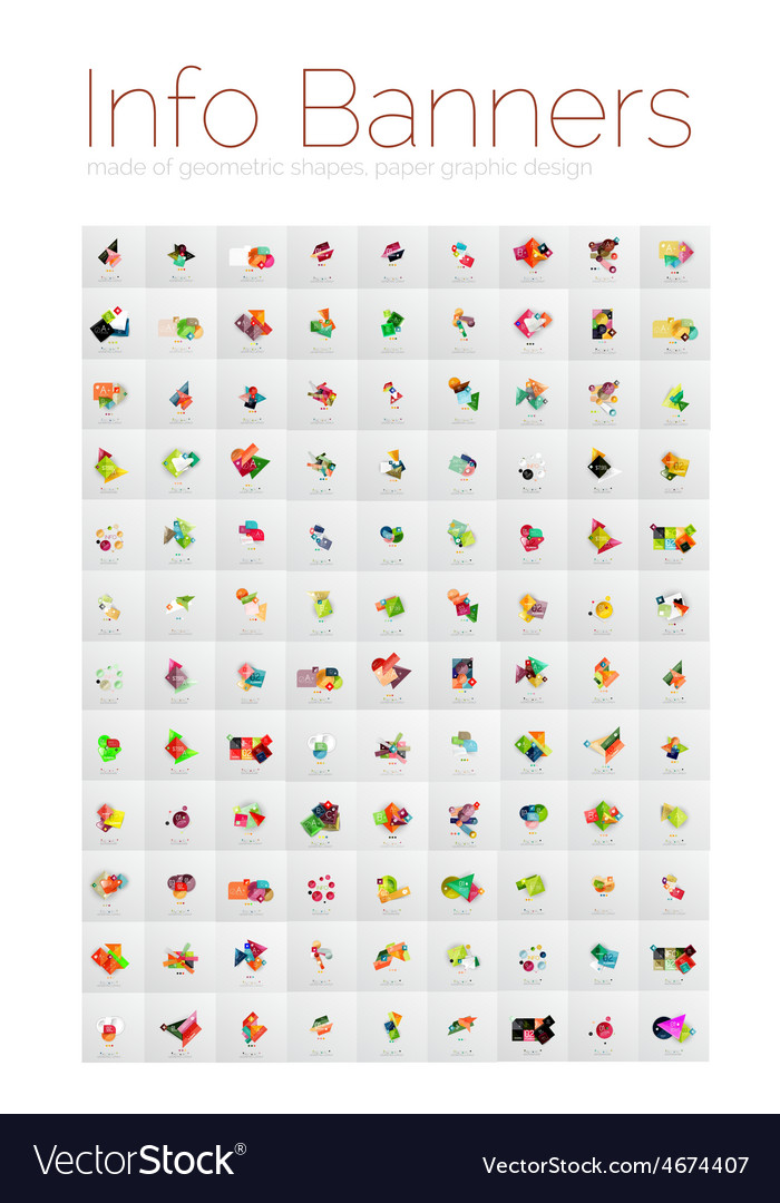 Mega collection of geometric info banners paper vector | Price: 1 Credit (USD $1)