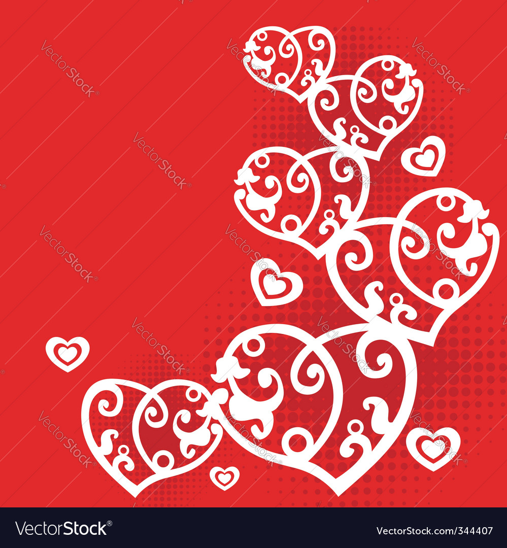 postcard with hearts vector | Price: 1 Credit (USD $1)