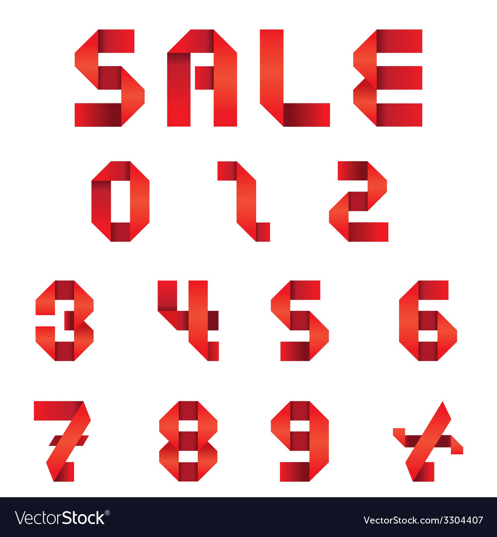 Sale text and numbers set origami style vector | Price: 1 Credit (USD $1)