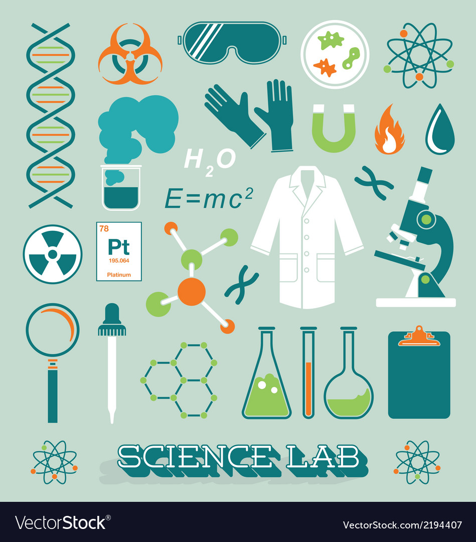 Science lab objects and icons vector | Price: 1 Credit (USD $1)