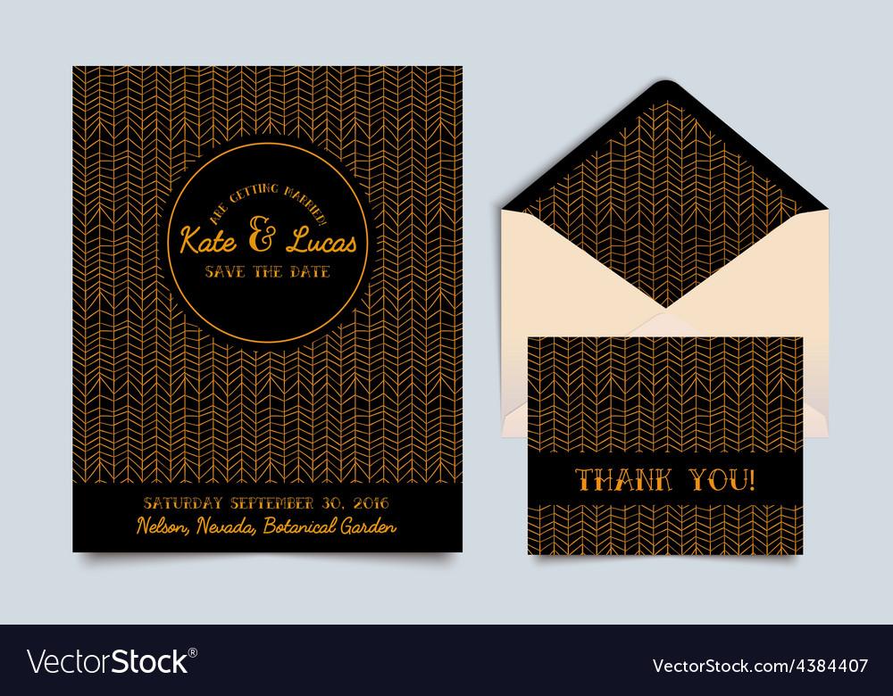 Wedding invitation card art deco vector | Price: 1 Credit (USD $1)