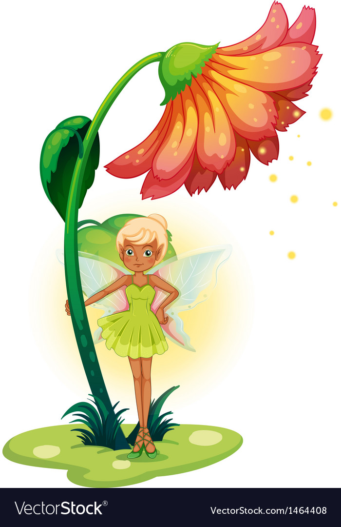 A fairy standing below the flower vector | Price: 1 Credit (USD $1)