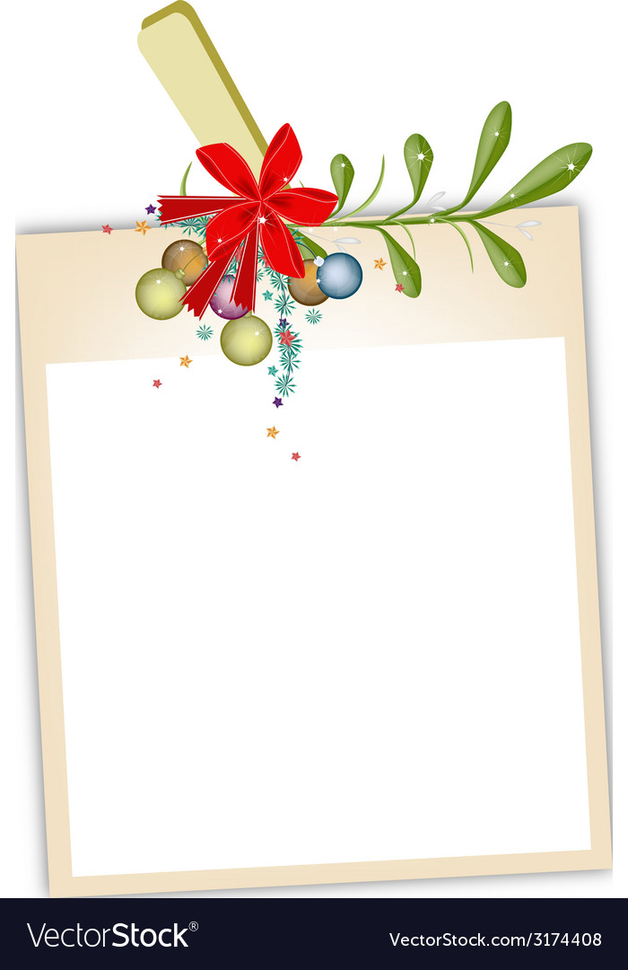 Blank photos with mistletoe hanging on clothesline vector | Price: 1 Credit (USD $1)