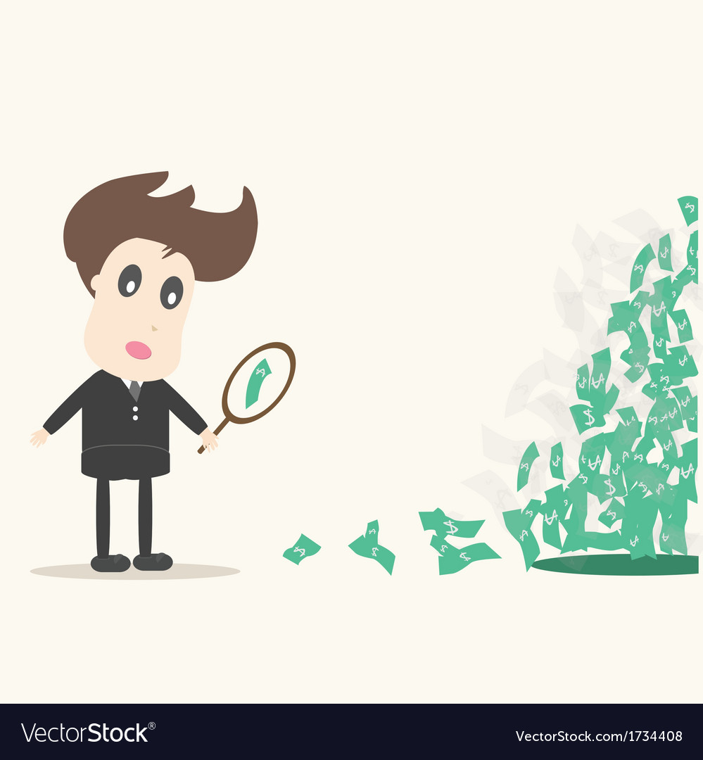 Businessman looking on dollar vector | Price: 1 Credit (USD $1)