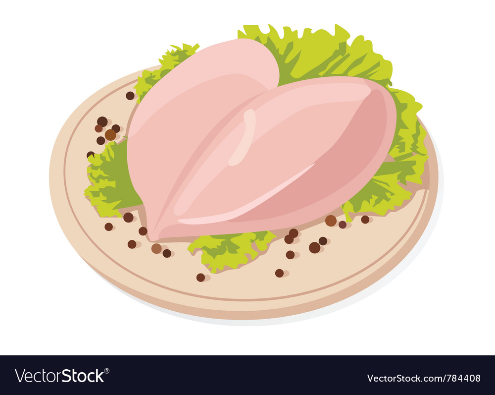 Chicken with black peppercorns vector