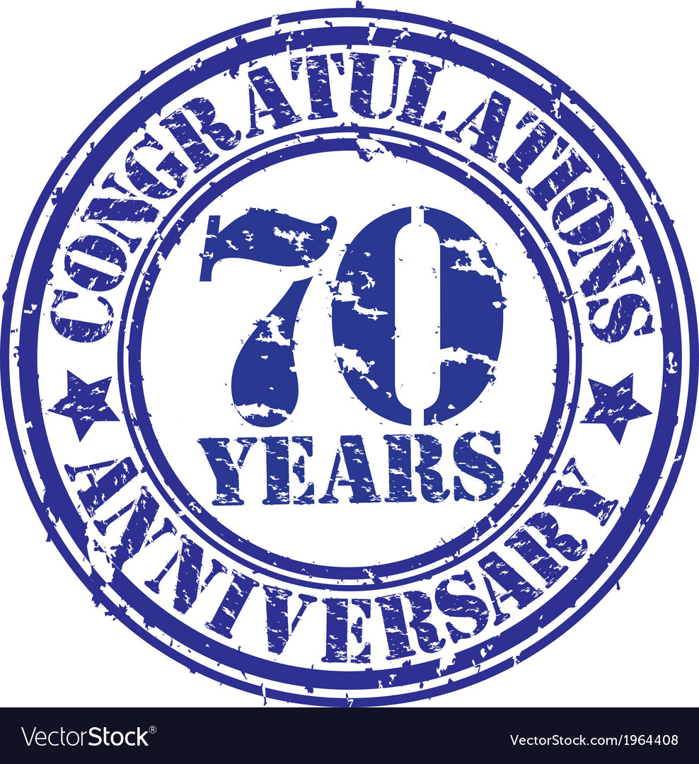Congratulations 70 years anniversary grunge rubber vector | Price: 1 Credit (USD $1)