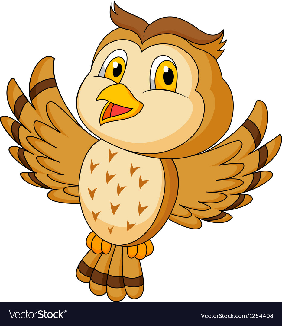 Cute owl cartoon flying vector | Price: 3 Credit (USD $3)