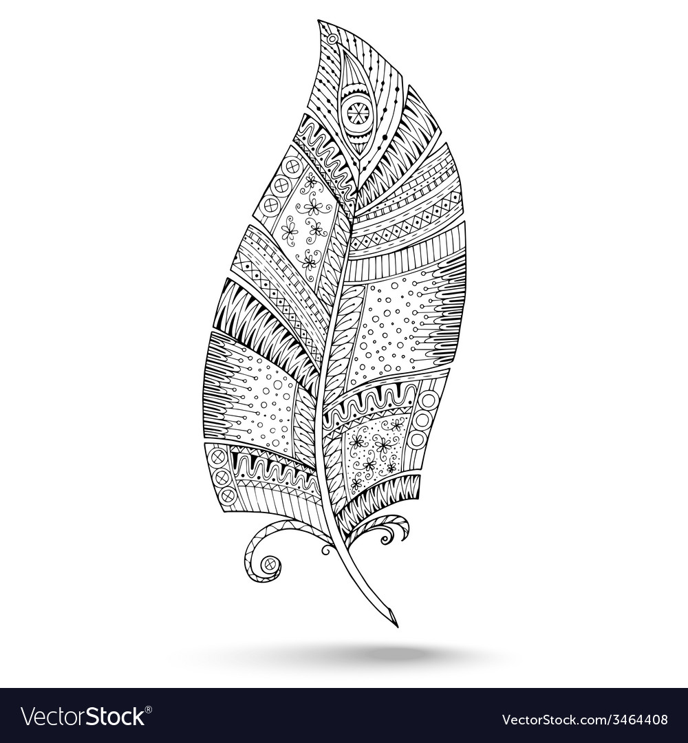 Ethnic doodle feather on white background vector | Price: 1 Credit (USD $1)